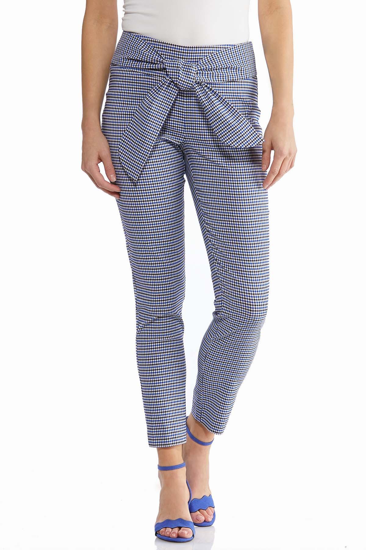 Gingham Tie Waist Slim Pants