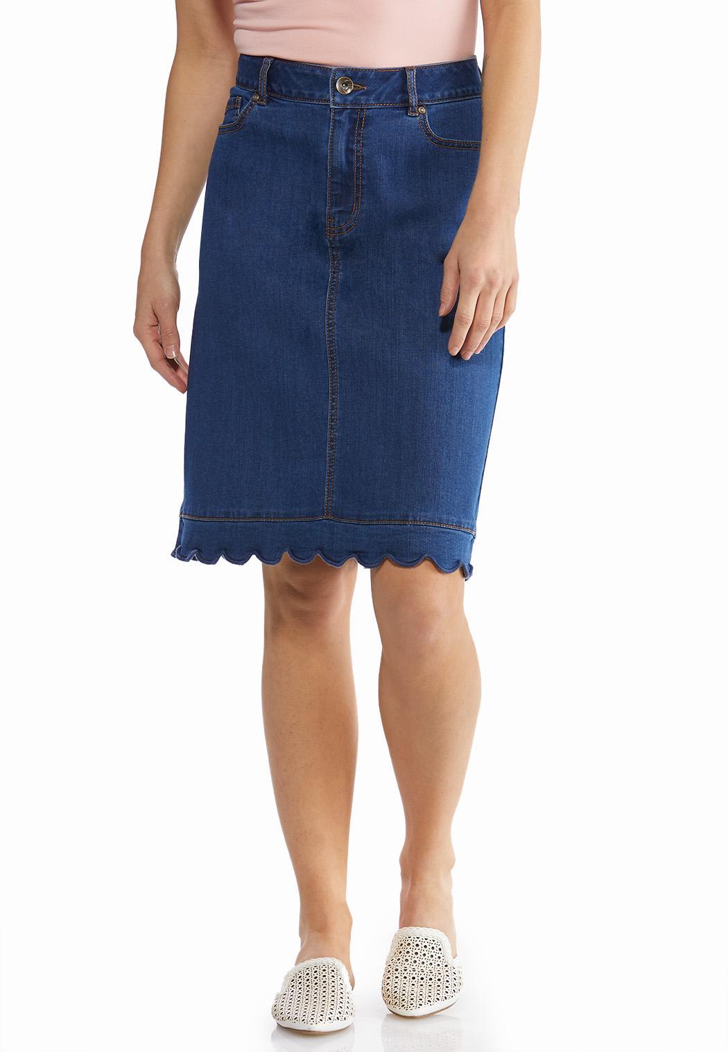 Scalloped Denim Skirt