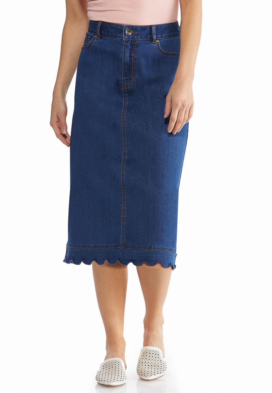 Plus Size Scalloped Denim Skirt