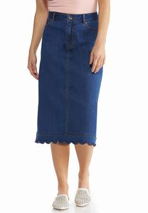 Plus Size Scalloped Denim Skirt