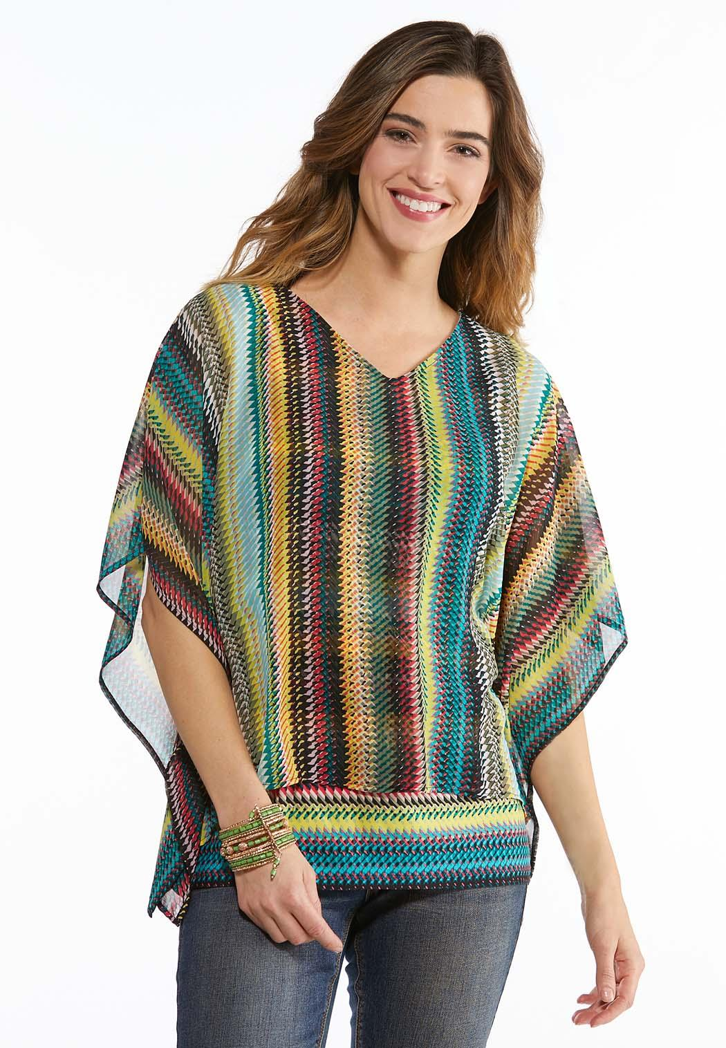 Plus Size Rainbow Chevron Capelet