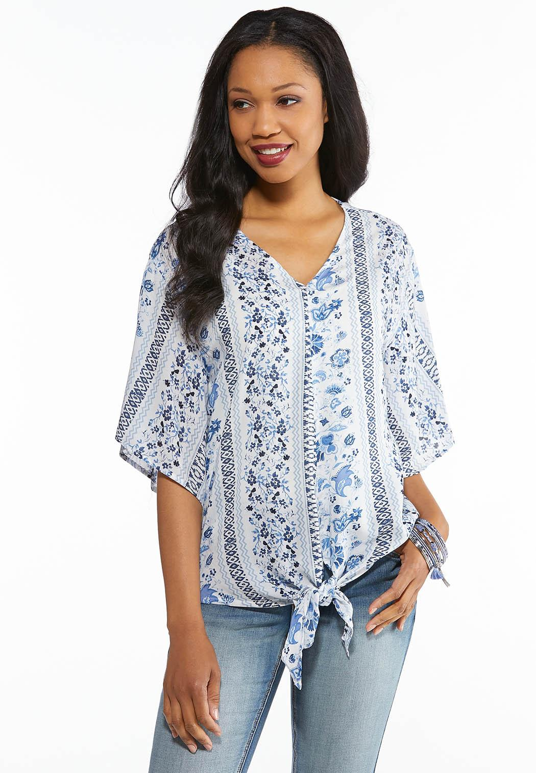 1821668fbe4 Plus Size Blue Blossom Tie Waist Top Shirts   Blouses Cato Fashions