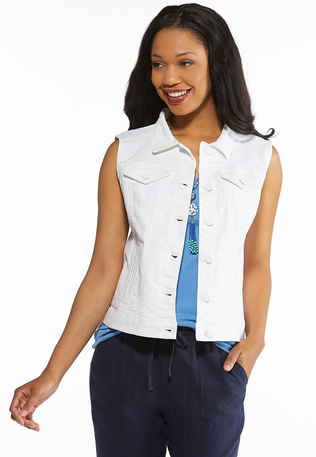 b0f015c47f4 Plus Size White Denim Vest Jackets & Vests Cato Fashions