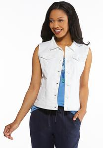 Plus Size White Denim Vest