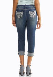 Cropped Metallic Embellished Jeans