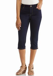 Cropped Button Hem Jeans