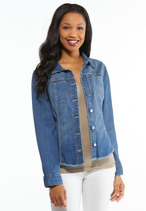 6435ed661d3 Plus Size Fringe Denim Shirt Jacket Jackets Cato Fashions