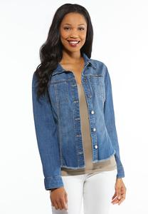 Plus Size Fringe Denim Shirt Jacket