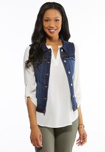 Plus Size Ruffled Denim Vest