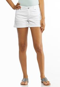 White Denim Cuffed Shorts