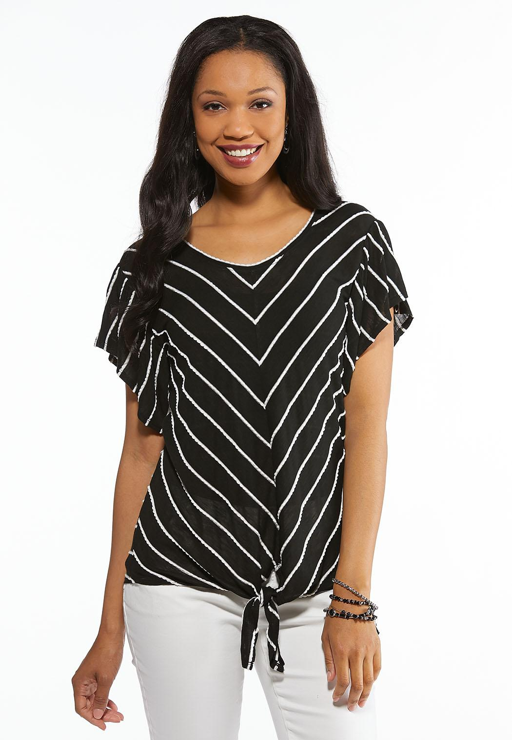 9c042c19f0542 Plus Size Knotted Chevron Top Tees   Knit Tops Cato Fashions