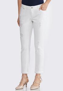 Petite White Distressed Jeans
