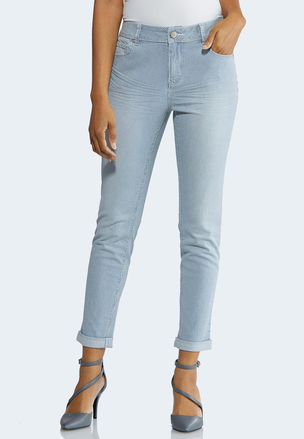Petite Striped Ankle Jeans