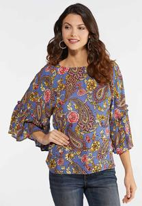 Crepe Floral Paisley Top