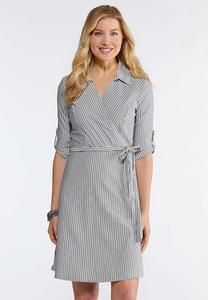 Striped Faux Wrap Dress