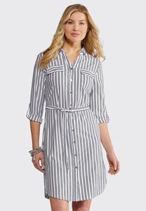 Triple Stripe Shirt Dress
