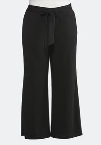 048ee1325e4 Plus Size Tie Waist Wide Leg Pants