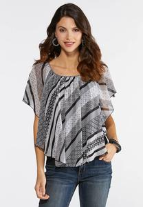 Plus Size Decorative Stripe Capelet