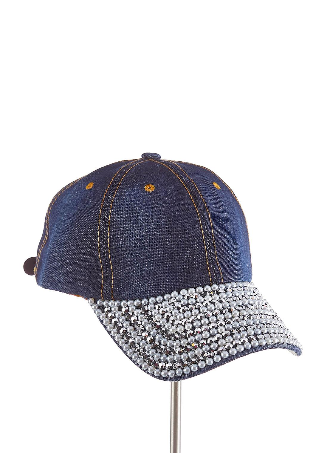 Embellished Denim Hat