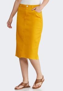 Plus Size Colored Denim Skirt