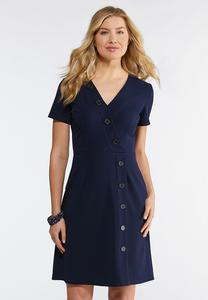 Button Faux Wrap Dress