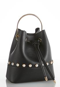 Pearl Embellished Mini Bucket Bag