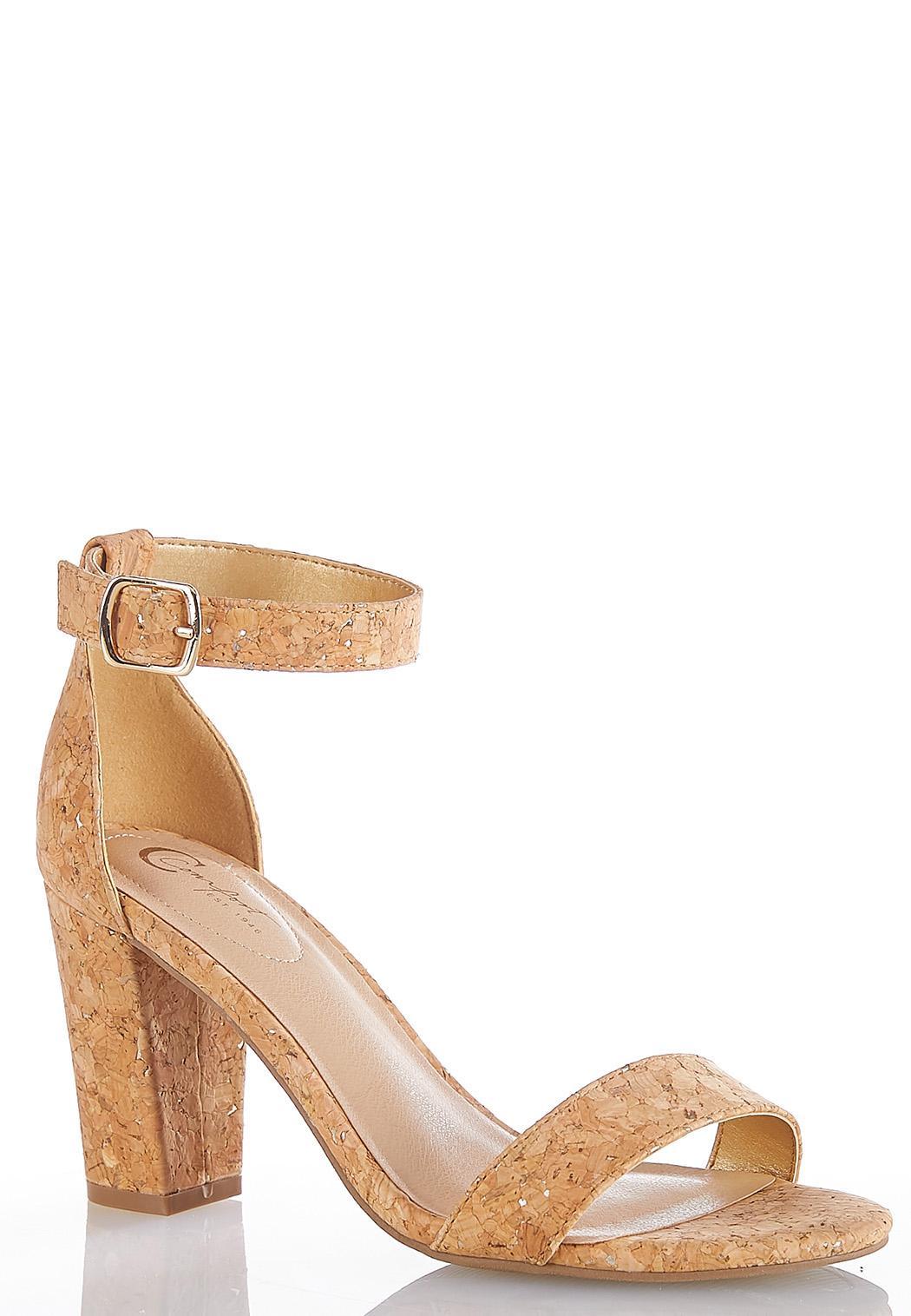 Wide Width Metallic Cork Heeled Sandals