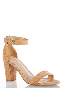 Wide Width Metallic Cork Heeled Sandals