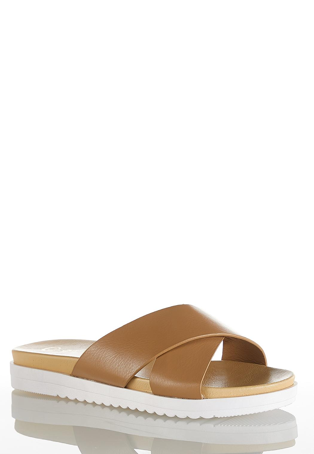Cross Band White Sole Sandals