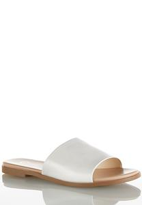 Faux Leather One Band Slides