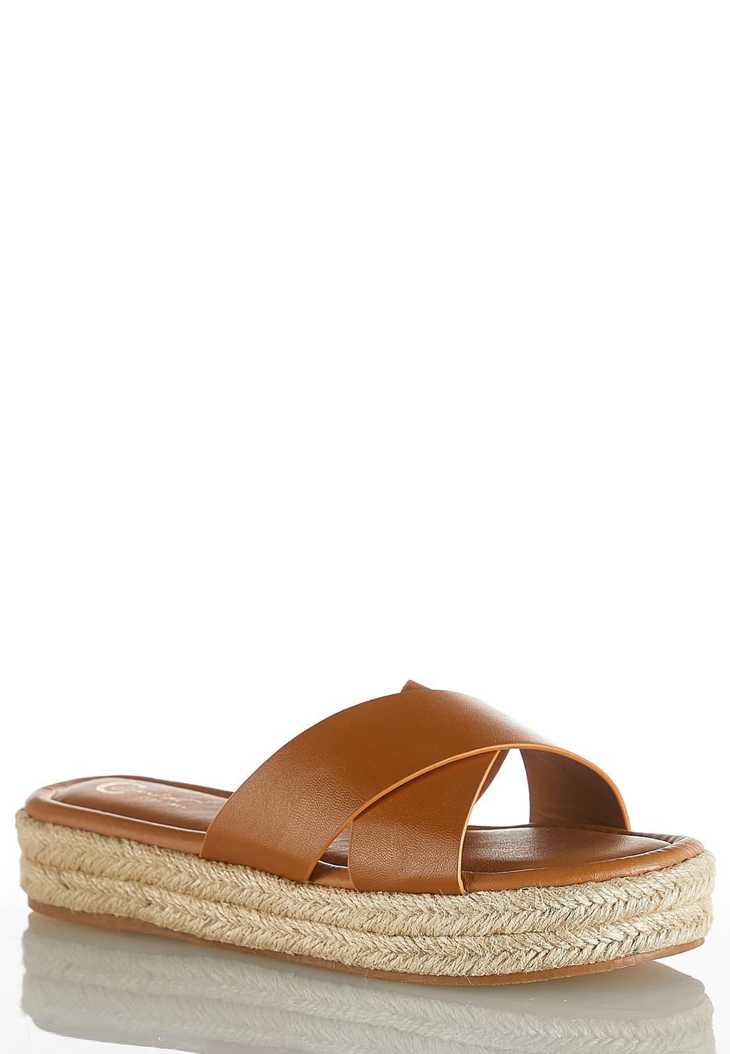 Cross Band Roped Flatform Sandals