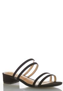 Lucite Trim Low Heeled Sandals