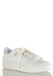 White Faux Leather Sneakers