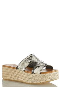 Snakeskin Roped Flatform Wedges