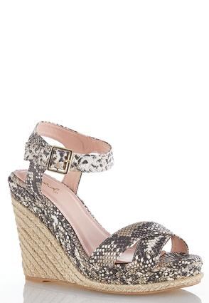 Snakeskin Crossband Roped Wedges