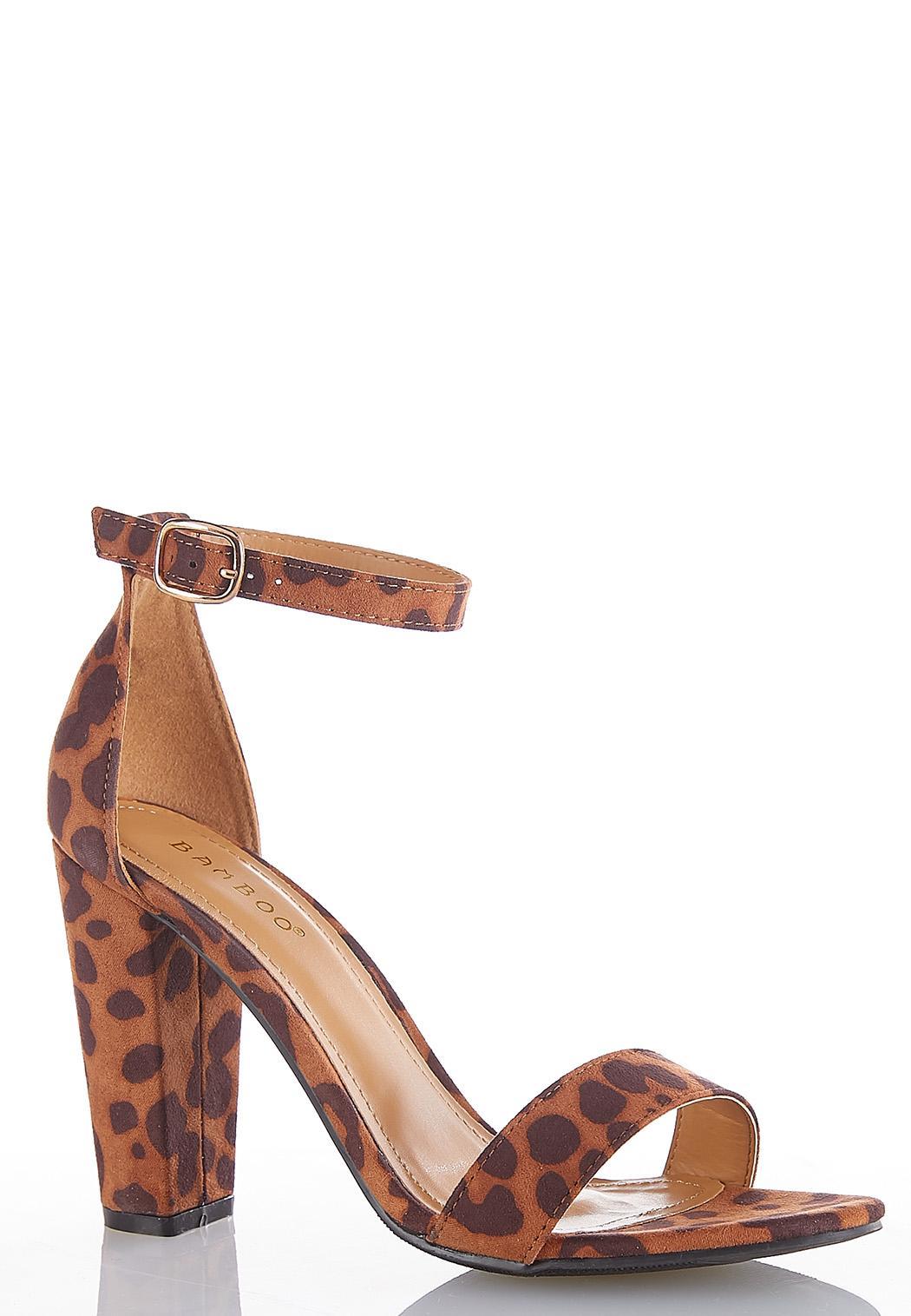 Leopard Ankle Strap Heeled Sandals