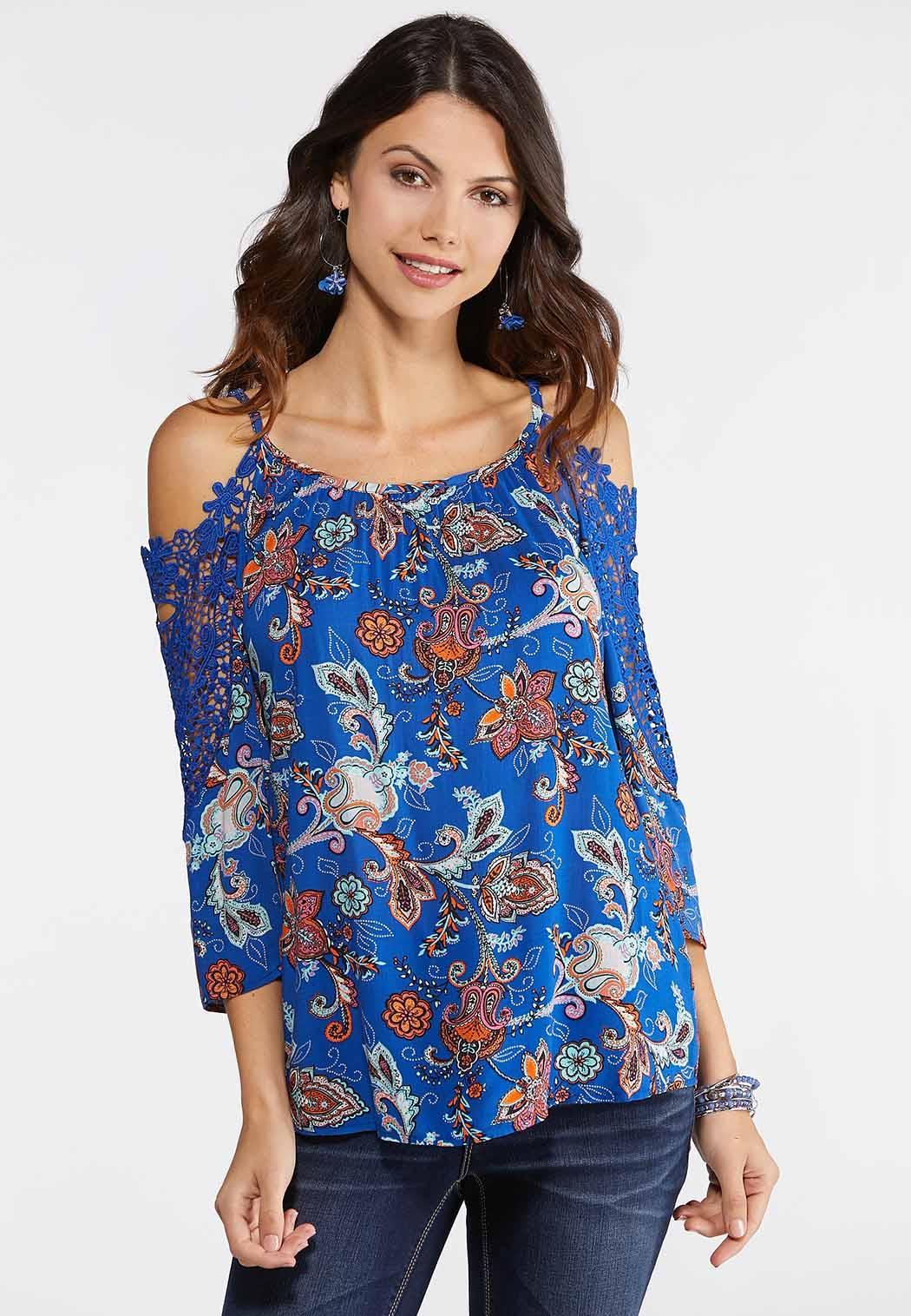 6ea5735a176e7 Plus Size Blue Cold Shoulder Paisley Top Shirts   Blouses Cato Fashions
