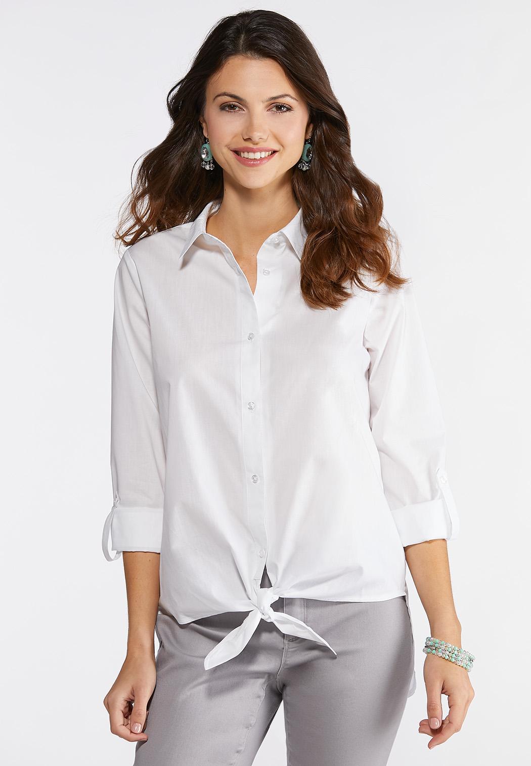 2fcc99204b Plus Size Tie Front Boyfriend Shirt Shirts Blouses Cato Fashions