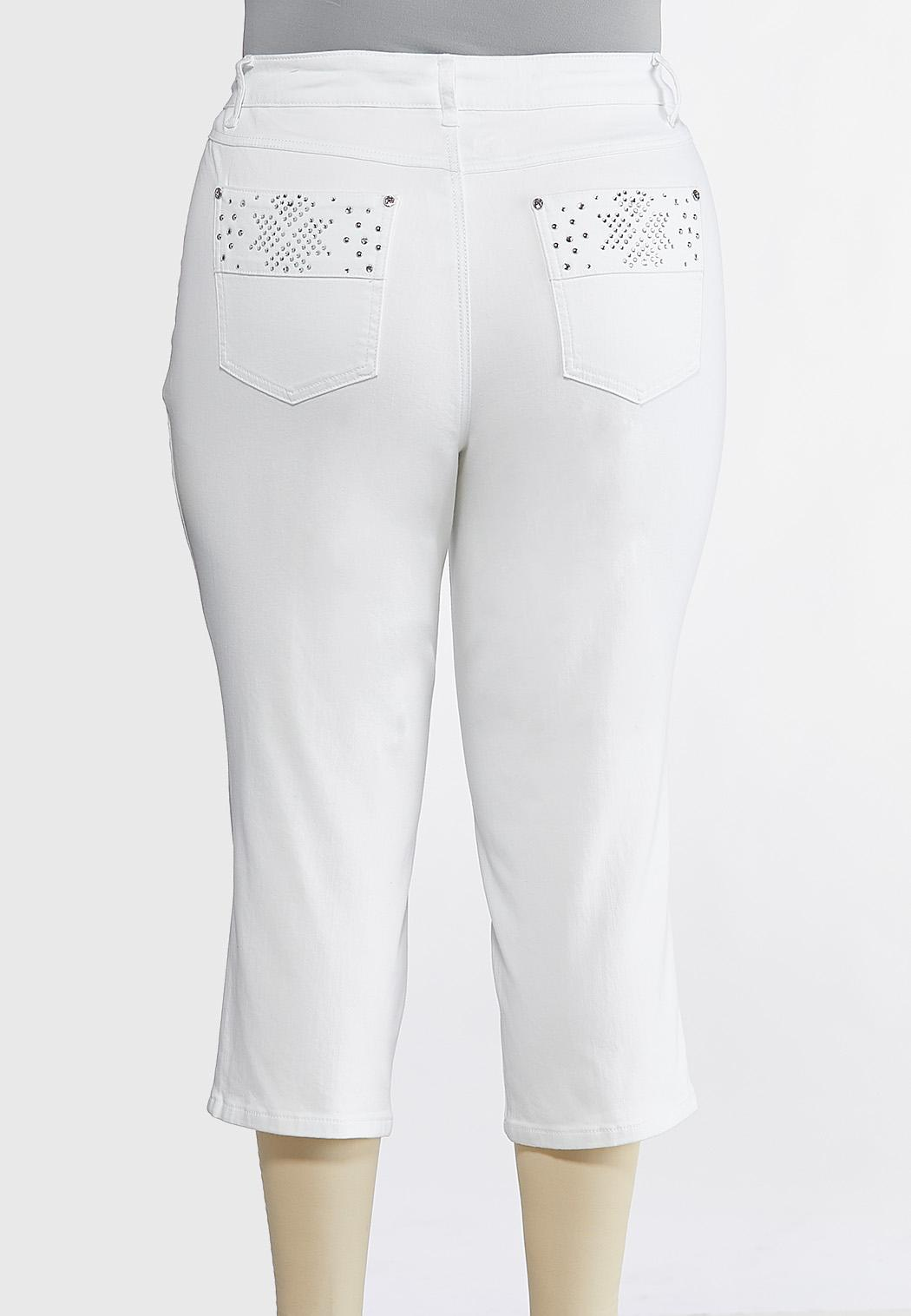 Plus Size Cropped Stone And Stud Jeans