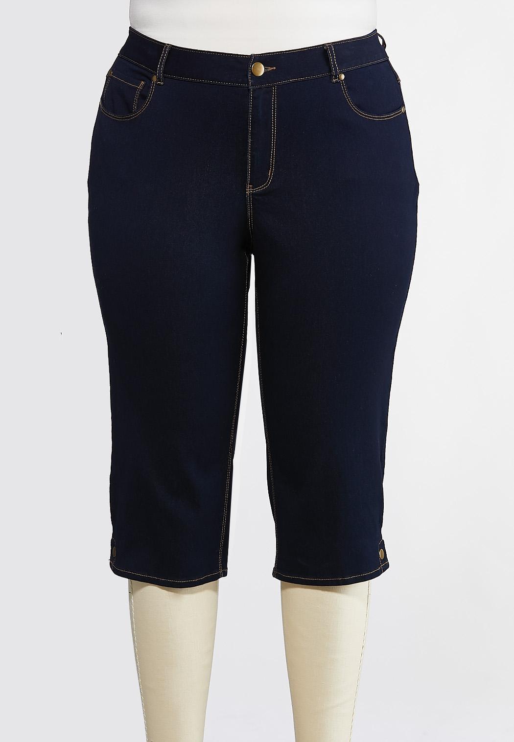 Plus Size Cropped Button Hem Jeans