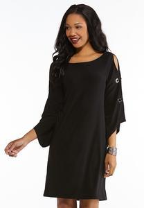 Grommet Detailed Slit Sleeve Dress