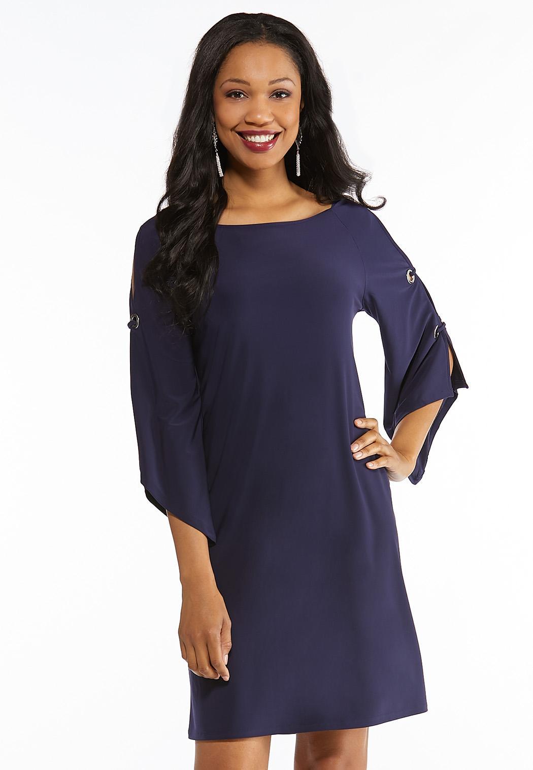 Plus Size Grommet Detailed Slit Sleeve Dress