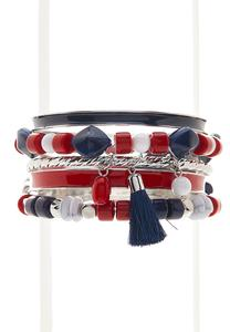 Red White Blue Assorted Bracelet Set