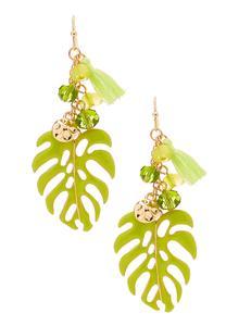 Palm Leaf Tasseled Earrings
