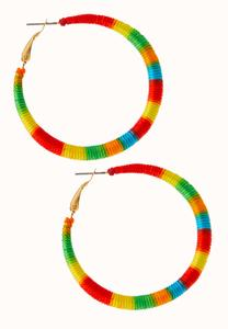 Rainbow Thread Hoop Earrings