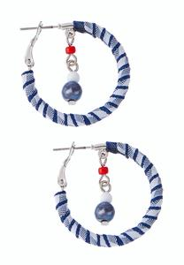 Stripe Wrapped Hoop Earrings