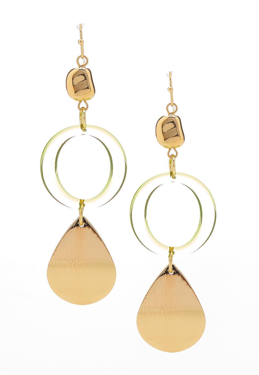 Lucite Ring Tear Disc Earrings