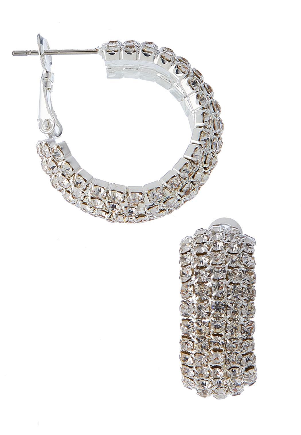 Mini Rhinestone Hoop Earrings