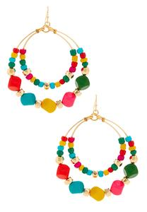 Beaded Multi Hoop Earrings