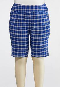 Plus Size Plaid Bermuda Shorts